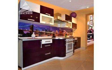 Белорусская кухня ЗОВ с фасадами из акрила Белый/Фиолет