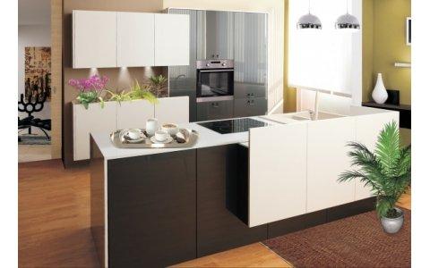 Кухня ЗОВ Акрил серый металлик/белый