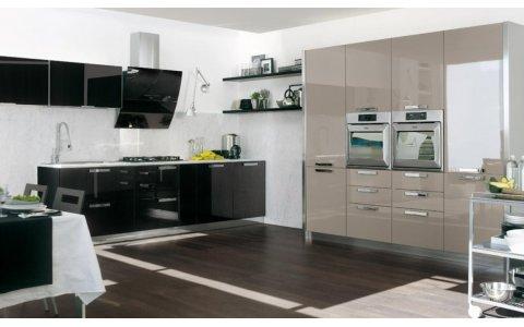 Кухня ЗОВ Акрил Черный/Серый