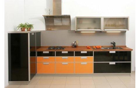 Кухня ЗОВ Черный/Оранжевый
