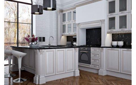 Кухня ЗОВ с фасадами из рамочного МДФ «Лоренцо ПП Бьянко»