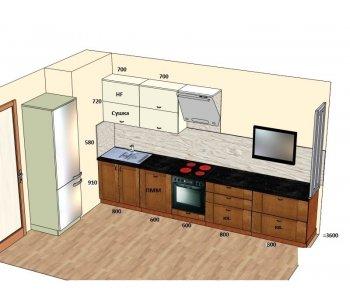 Кухня ЗОВ низ массива ясеня Т527/113, верх пластик ARPA 2619