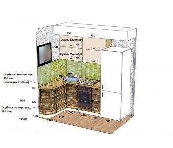 Кухня ЗОВ Пластик Песочный / Мореный дуб ШТА747