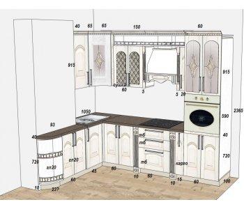 Кухня из массива ясеня т512/110, витраж СТ7 золото