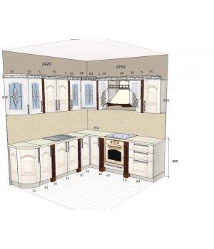 Кухня ЗОВ из массив ясеня т512/110, пилястры 113 ольха