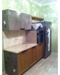 открытые полки над холодильником шпон ясеня