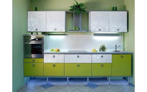 Кухня ЗОВ  Зеленый/Белый Лотос